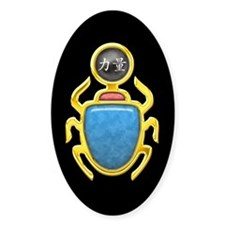 Black Pearl Scarab Oval Decal