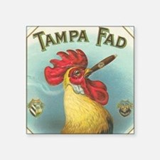 "Vintage Rooster Cigar Label Square Sticker 3"" x 3"""
