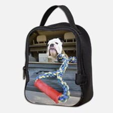 English bulldog with tug toy Neoprene Lunch Bag
