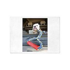 English bulldog with tug toy 5'x7'Area Rug
