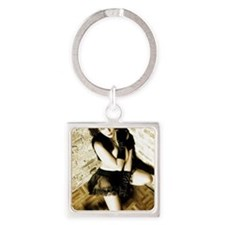 Sexy Woman in Lingerie Square Keychain