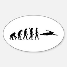 Swimming evolution Sticker (Oval)