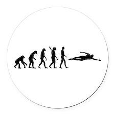 Swimming evolution Round Car Magnet