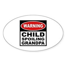 Child Spoiling Grandpa Oval Decal