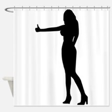 Sexy Hitch Hiker Silhouette Shower Curtain