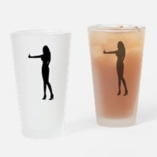 Sexy Hitch Hiker Silhouette Drinking Glass