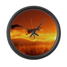 cranes Large Wall Clock