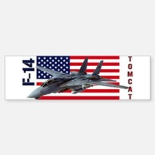 F-14 Tomcat on a USA flag Bumper Bumper Bumper Sticker