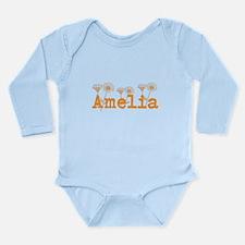 Orange Amelia Name Body Suit