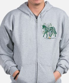 Horse In Winter Forest Zip Hoodie