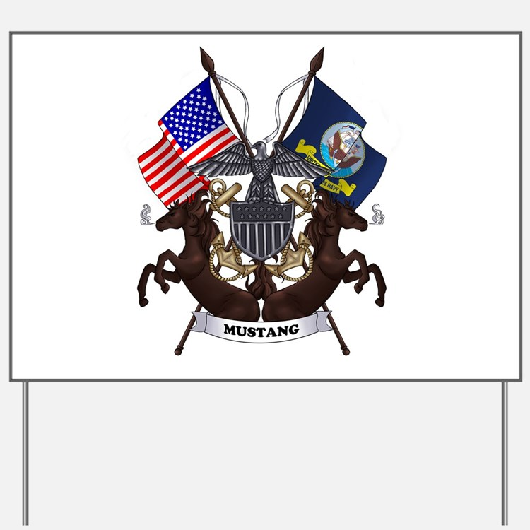 Navy Mustang Emblem Yard Sign