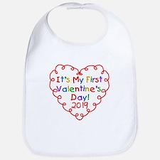 Heart 1st Valentine Day Bib