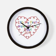 Heart 1st Valentine Day Wall Clock
