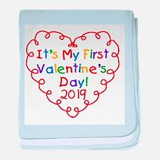 Heart 1st Valentine Day baby blanket