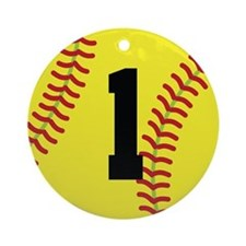 Softball Sports Player Number 1 Ornament (Round)
