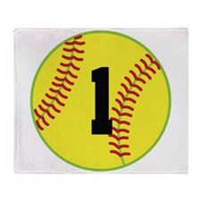 Softball Sports Player Number 1 Throw Blanket