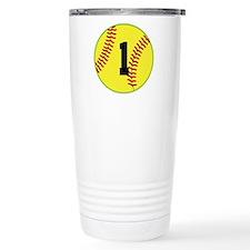 Softball Sports Player Number 1 Travel Mug