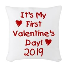 It's My First Valentine's Day Woven Throw Pillow