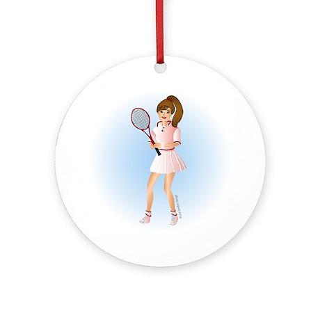 Tennis Woman Brunette Ornament (Round)
