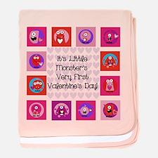 Little Monster 1st Valentine's Day baby blanket