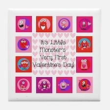 Little Monster 1st Valentine's Day Tile Coaster