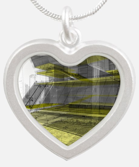 Architecture Thesis Silver Heart Necklace
