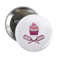 "Cupcake & Crossed Beaters In Pink 2.25"" Button"