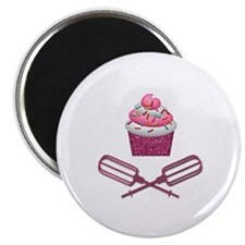 "Cupcake & Crossed Beaters In Pink 2.25"" Magnet (10"