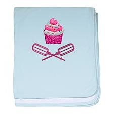 Cupcake & Crossed Beaters In Pink baby blanket