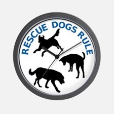 Rescue Dogs Rule Wall Clock