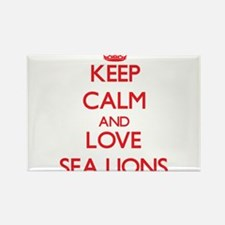Keep calm and love Sea Lions Magnets