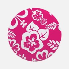 Hot Pink Tropical flowers Ornament (Round)
