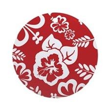 Red Tropical Flowers Ornament (Round)