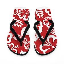 Red Tropical Flowers Flip Flops