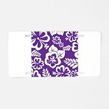 Purple tropical flowers Aluminum License Plate