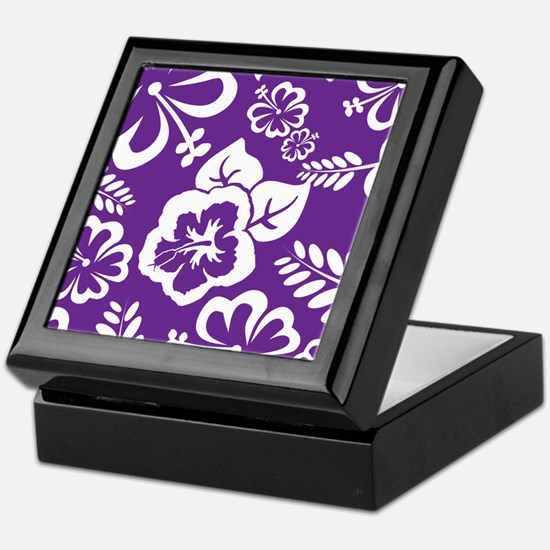 Purple tropical flowers Keepsake Box