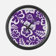 Purple tropical flowers Large Wall Clock