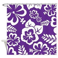 Purple tropical flowers Shower Curtain