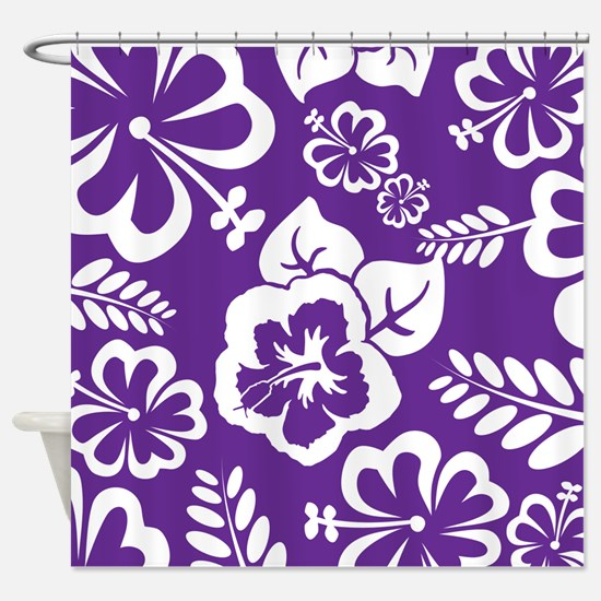 Purple tropical flowers Shower Curtain