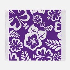 Purple tropical flowers Throw Blanket