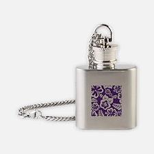 Purple tropical flowers Flask Necklace