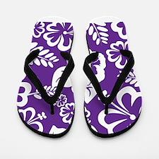 Purple tropical flowers Flip Flops