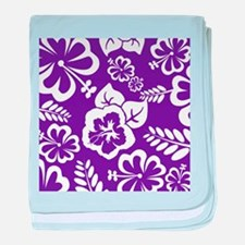 Purple tropical flowers baby blanket