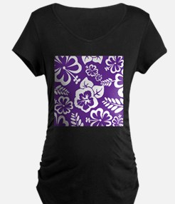 Purple tropical flowers Maternity T-Shirt
