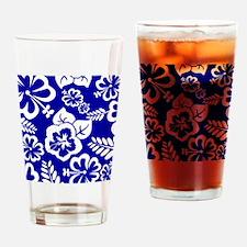 Dark Blue tropical flowers Drinking Glass