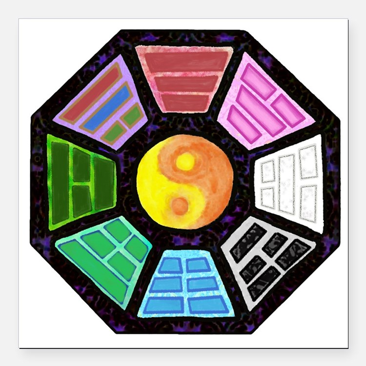 """Painted Ba-Gua Square Car Magnet 3"""" x 3"""""""