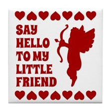 Heart Cupid Little Friend Valentines  Tile Coaster