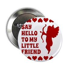 """Heart Cupid Little Friend Valentines  2.25"""" Button"""