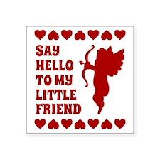 "Heart Cupid Little Friend V Square Sticker 3"" x 3"""