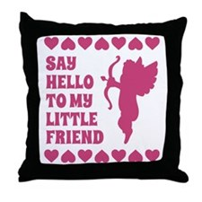 Pink Heart Cupid Little Friend Valent Throw Pillow